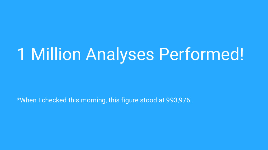 1 Million Analyses Performed! *When I checked t...