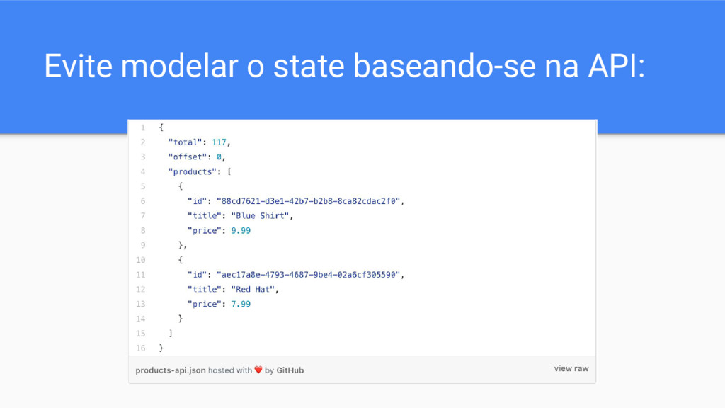 Evite modelar o state baseando-se na API: