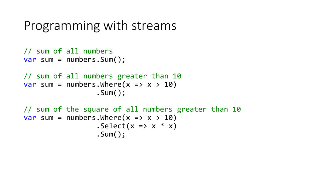 Programming with streams // sum of all numbers ...