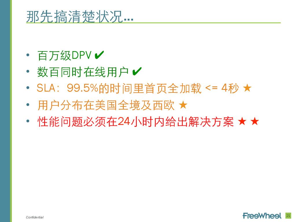 Confidential • 百万级DPV ✔ • 数百同时在线⽤用户 ✔ • SLA:...