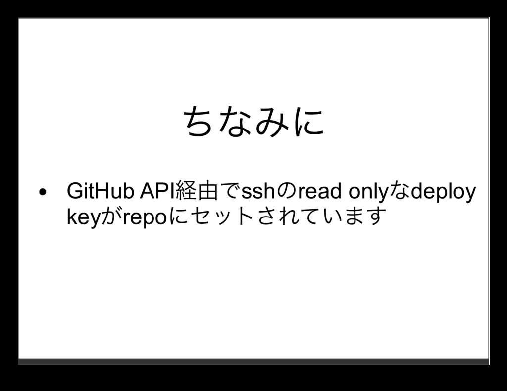 ちなみに GitHub API経由でsshのread onlyなdeploy keyがrepo...
