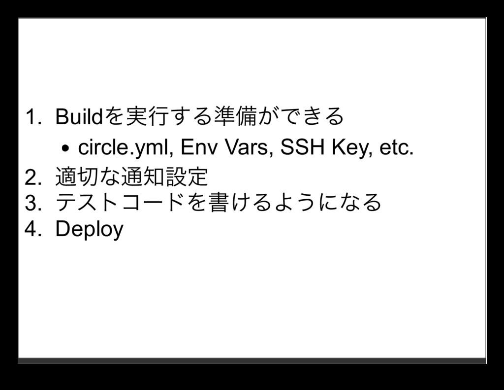 1. Buildを実⾏する準備ができる circle.yml, Env Vars, SSH K...