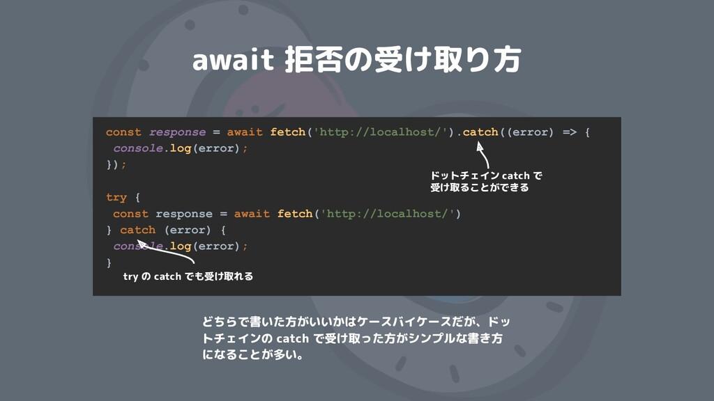 await 拒否の受け取り方 const response = await fetch('ht...