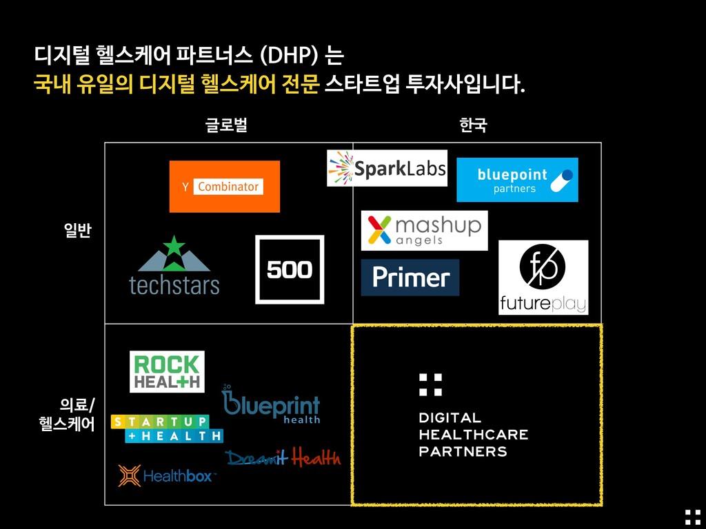 디지털 헬스케어 파트너스 (DHP) 는  국내 유일의 디지털 헬스케어 전문 스타트업 ...