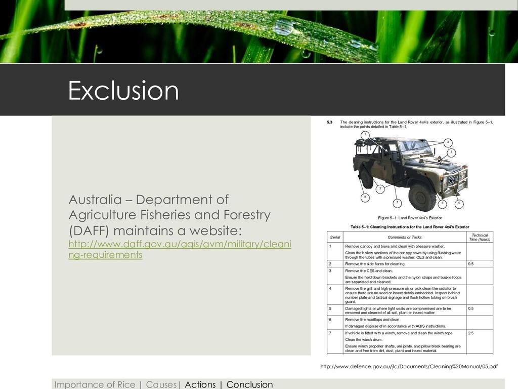 Exclusion Australia – Department of Agriculture...