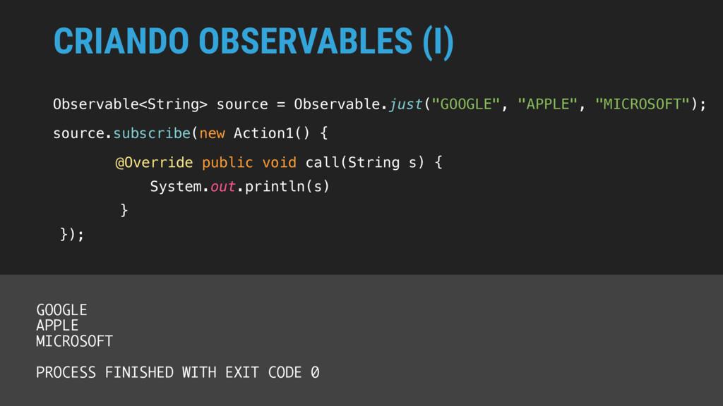 CRIANDO OBSERVABLES (I) Observable<String> sour...