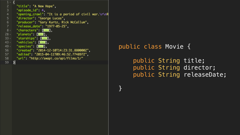 public class Movie {  public String title; p...