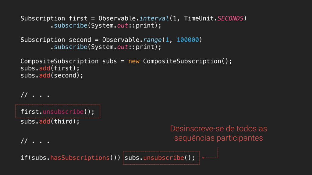 Subscription first = Observable.interval(1, Tim...