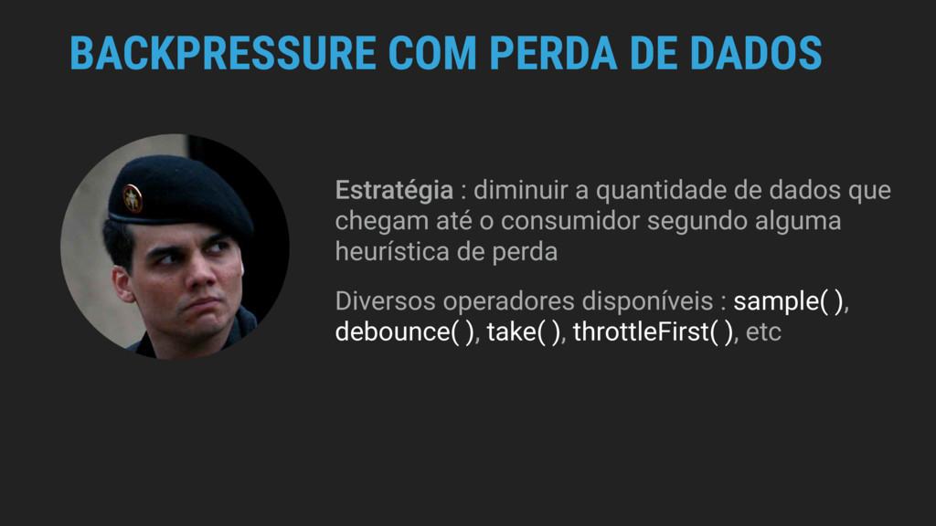 BACKPRESSURE COM PERDA DE DADOS Estratégia : di...