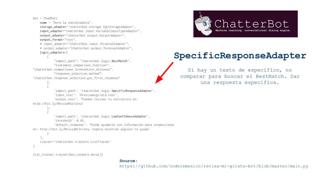 "bot = ChatBot( name = ""Dora la coordinadora"", s..."