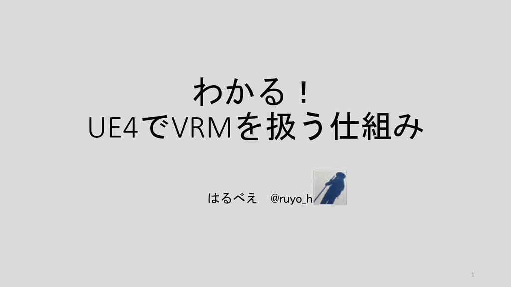 わかる! UE4でVRMを扱う仕組み はるべえ @ruyo_h 1
