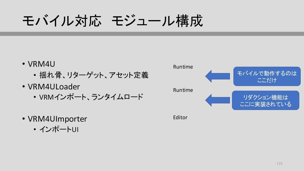 モバイル対応 モジュール構成 • VRM4U • 揺れ骨、リターゲット、アセット定義 • VR...