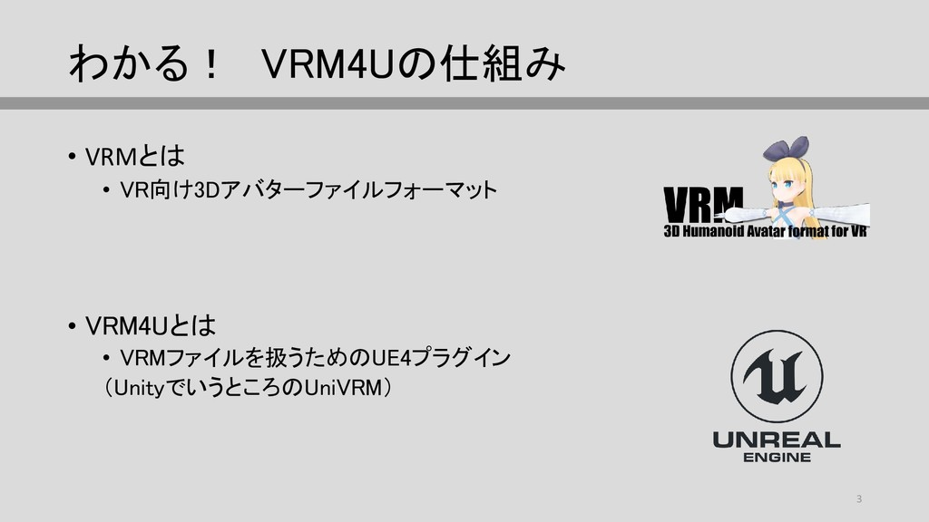 わかる! VRM4Uの仕組み • VRMとは • VR向け3Dアバターファイルフォーマット •...