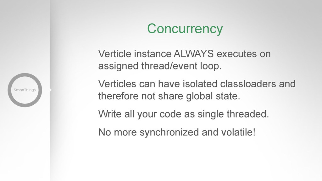Concurrency Verticle instance ALWAYS executes o...