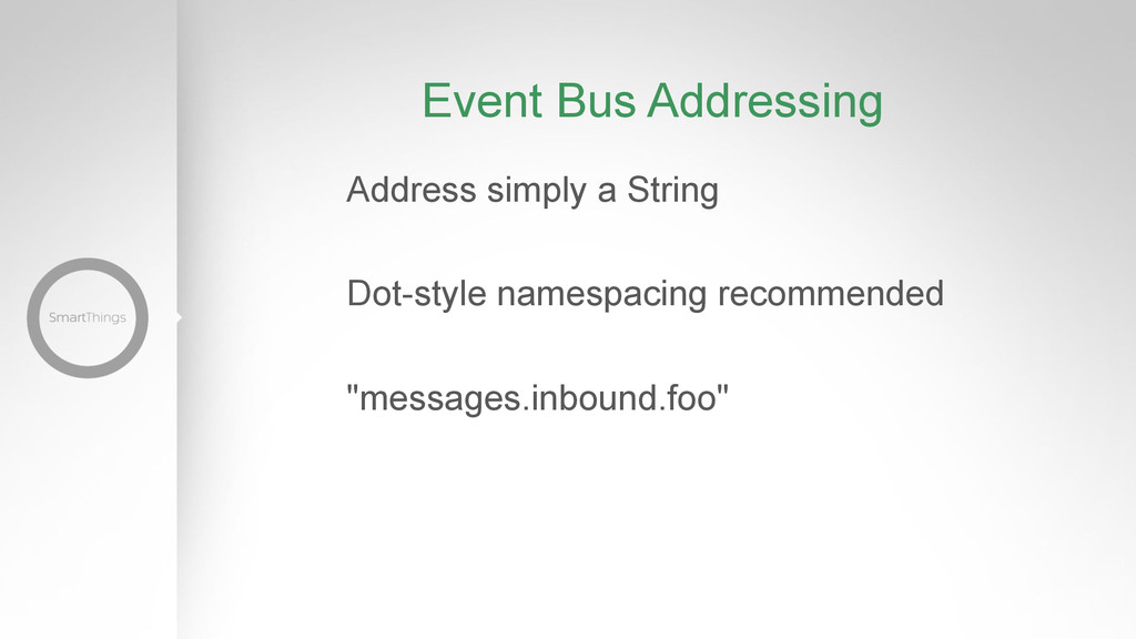 Event Bus Addressing Address simply a String Do...