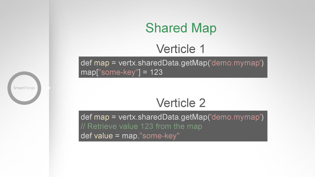 Verticle 1 def map = vertx.sharedData.getMap('d...