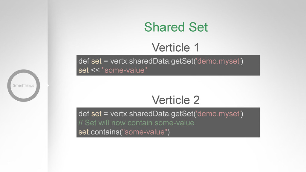 Verticle 1 def set = vertx.sharedData.getSet('d...