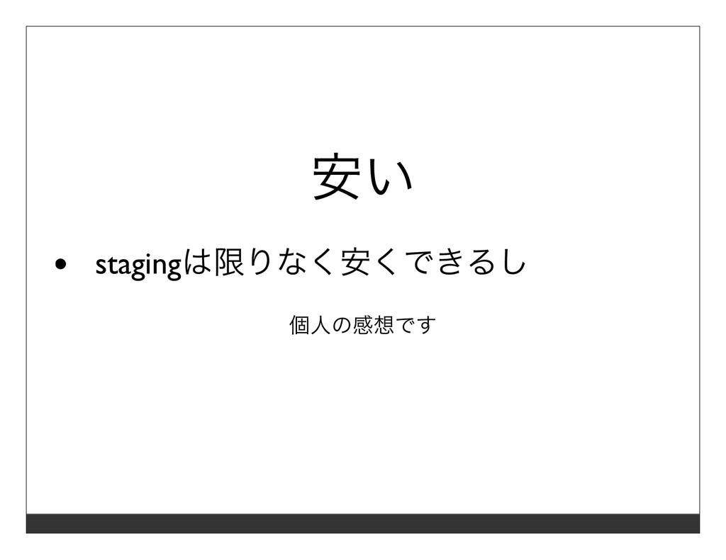 安い stagingは限りなく安くできるし 個⼈の感想です