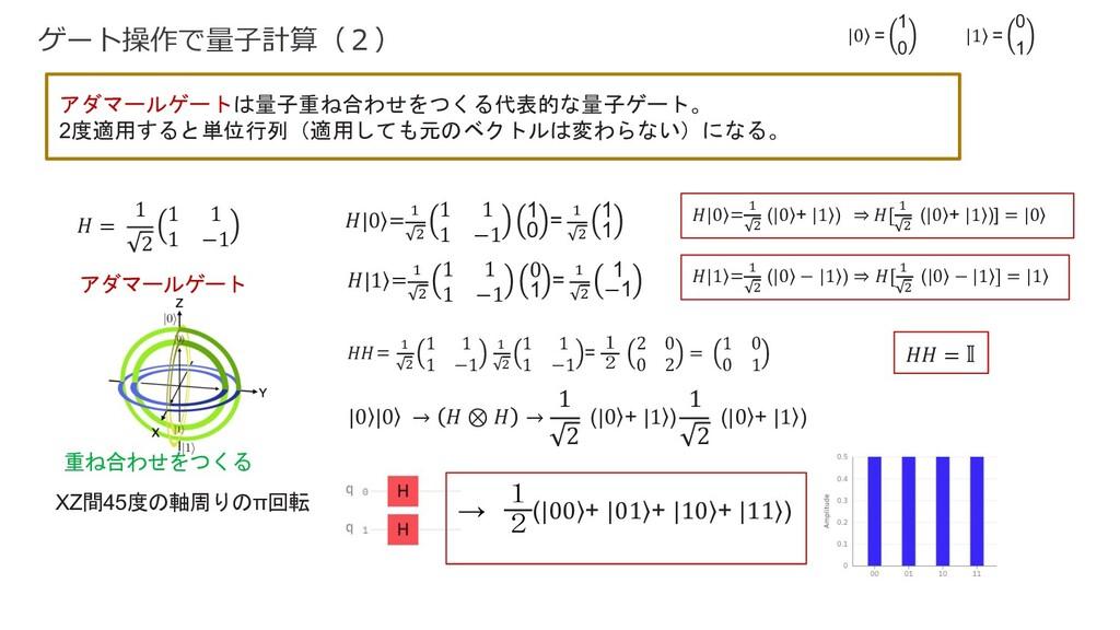 ゲート操作で量⼦計算(2) アダマールゲートは量子重ね合わせをつくる代表的な量子ゲート。 2度...