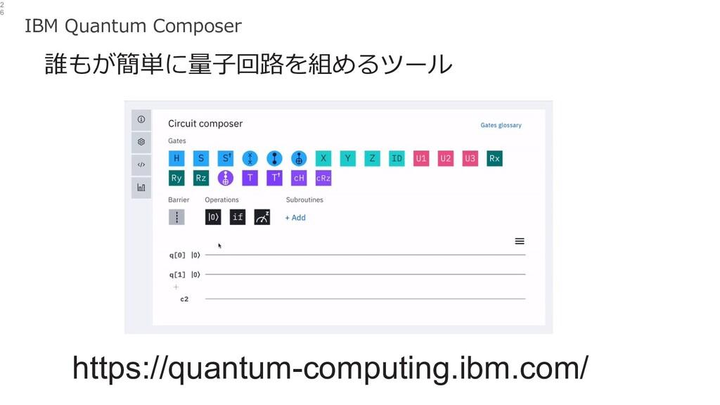 2 6 誰もが簡単に量⼦回路を組めるツール https://quantum-computing...