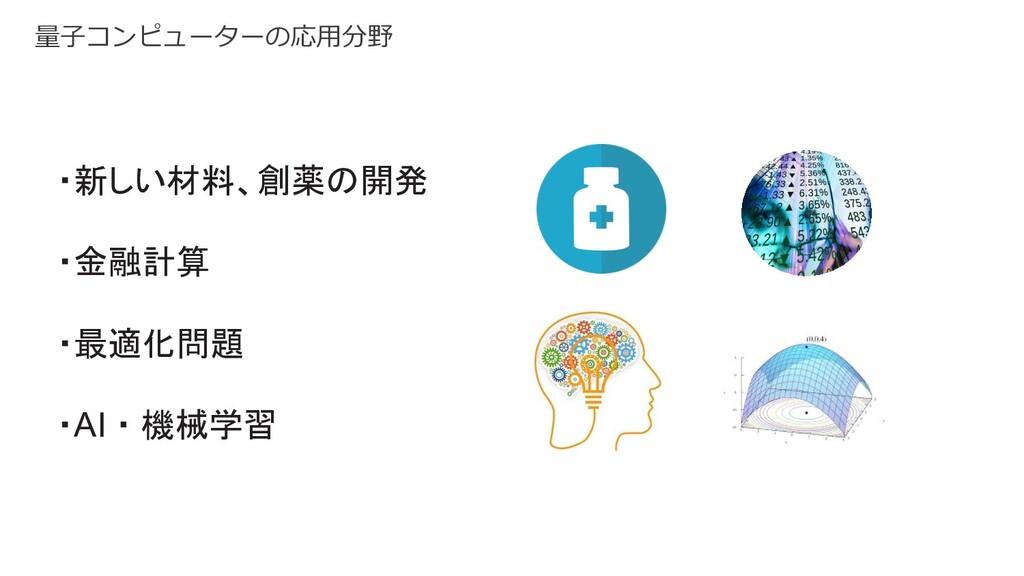 量⼦コンピューターの応⽤分野 ・新しい材料、創薬の開発 ・金融計算 ・最適化問題 ・AI・機械...