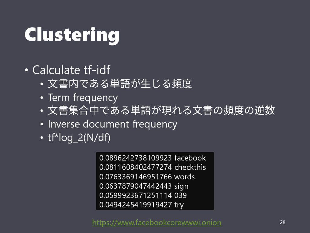 Clustering • Calculate tf-idf • • Term frequenc...