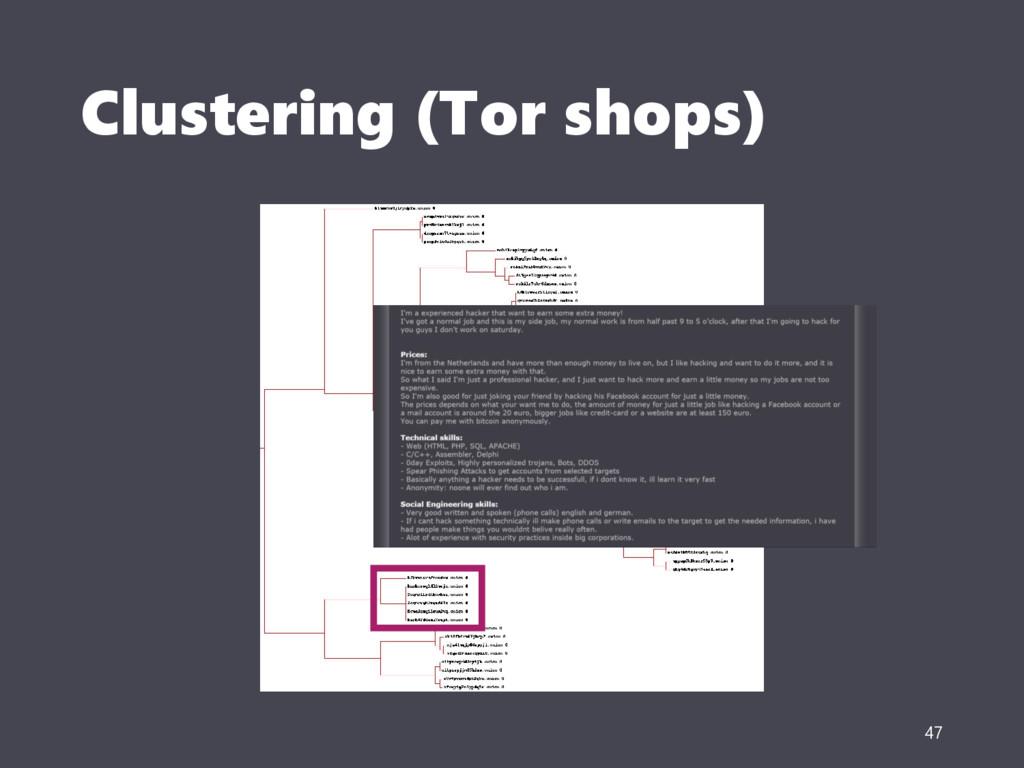 Clustering (Tor shops) 47