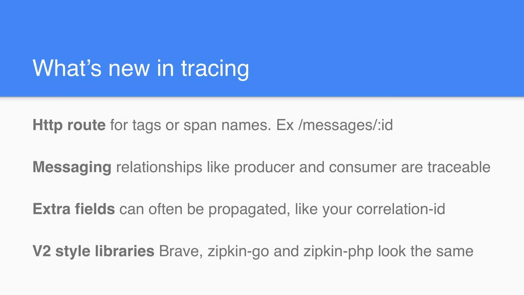 What's new in tracing Http route for tags or sp...