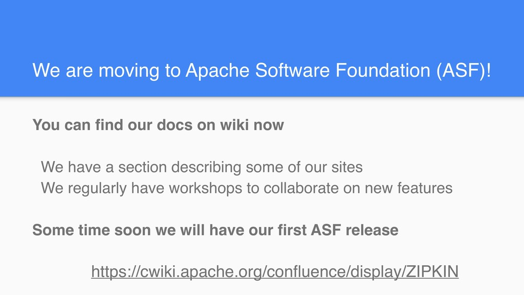 We are moving to Apache Software Foundation (AS...