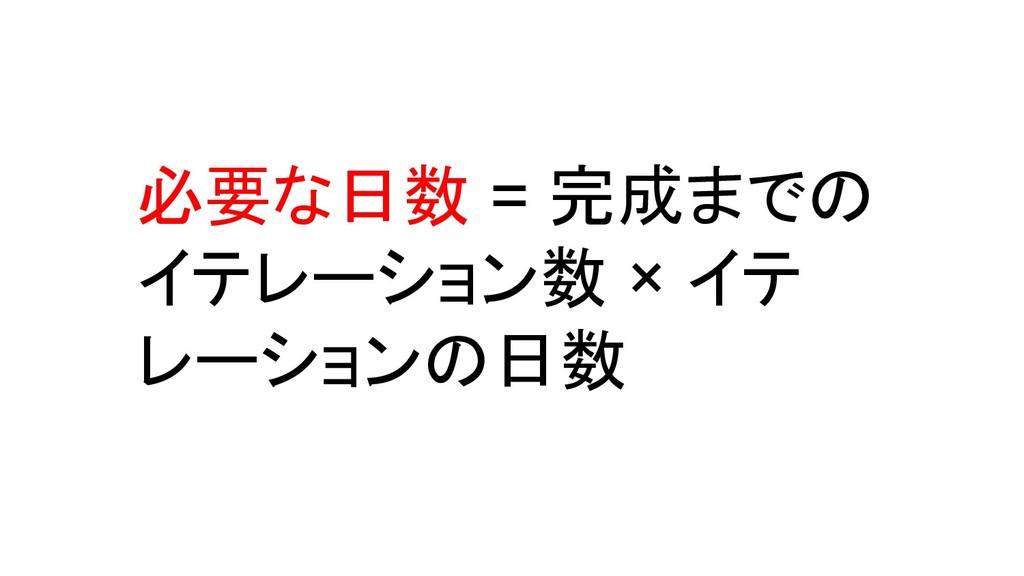 必要な日数 = 完成までの イテレーション数 × イテ レーションの日数