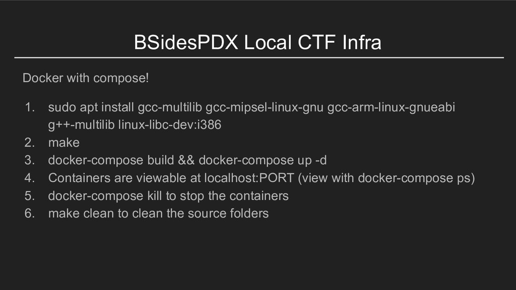 BSidesPDX Local CTF Infra Docker with compose! ...