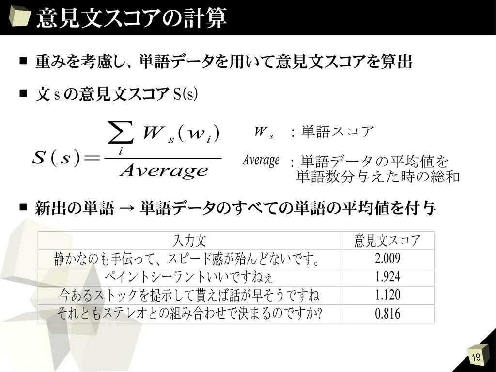 19 意見文スコアの計算 ■ 重みを考慮し、単語データを用いて意見文スコアを算出 ■ 文 s ...