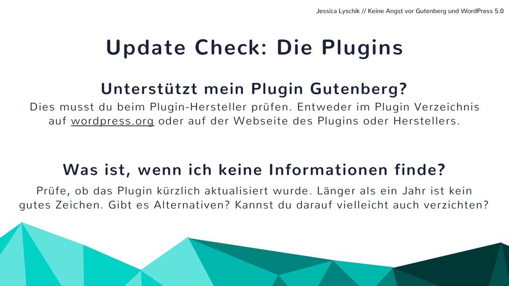 Update Check: Die Plugins Unterstützt mein Plug...