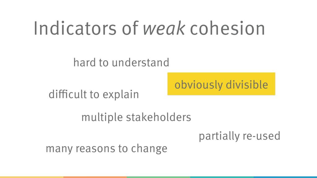 Indicators of weak cohesion hard to understand ...