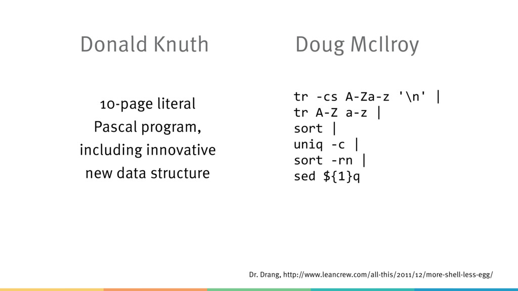 Donald Knuth Doug McIlroy Dr. Drang, http://www...