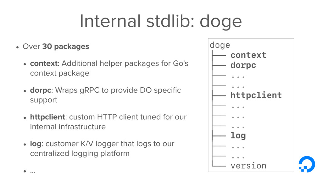 Internal stdlib: doge • Over 30 packages • cont...