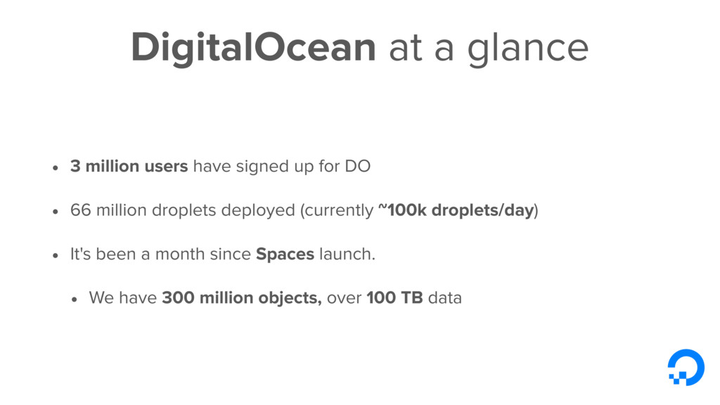 DigitalOcean at a glance • 3 million users have...
