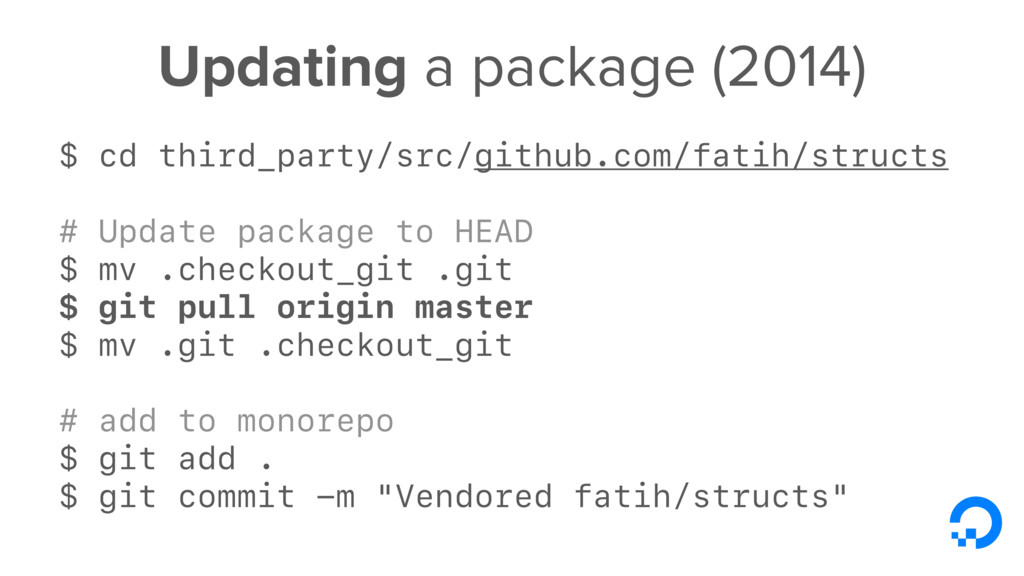 Updating a package (2014) $ cd third_party/src/...