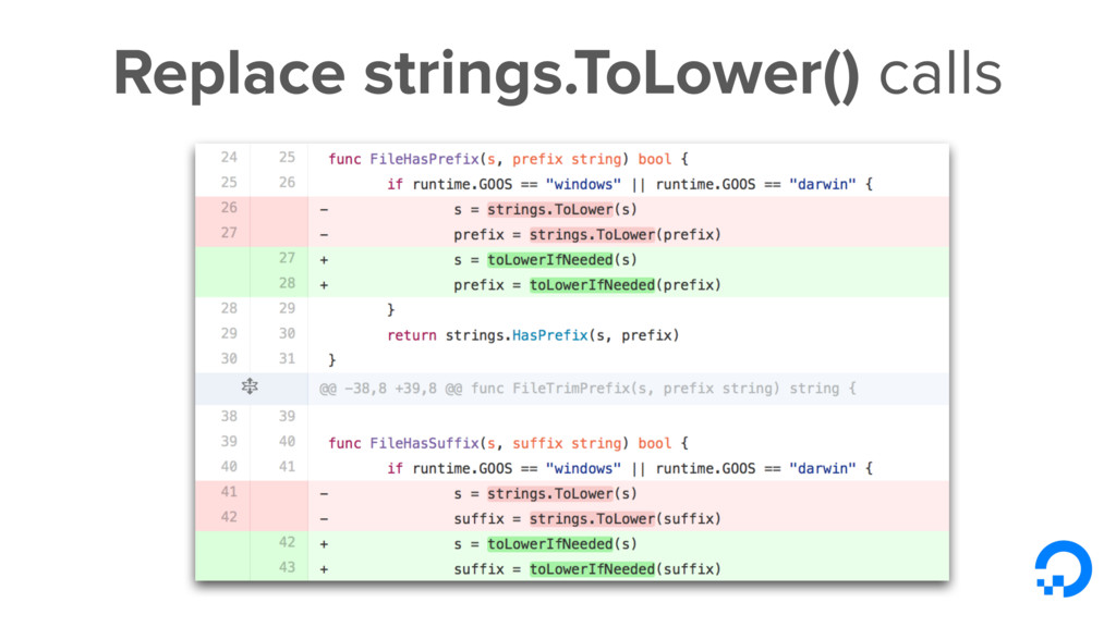 Replace strings.ToLower() calls