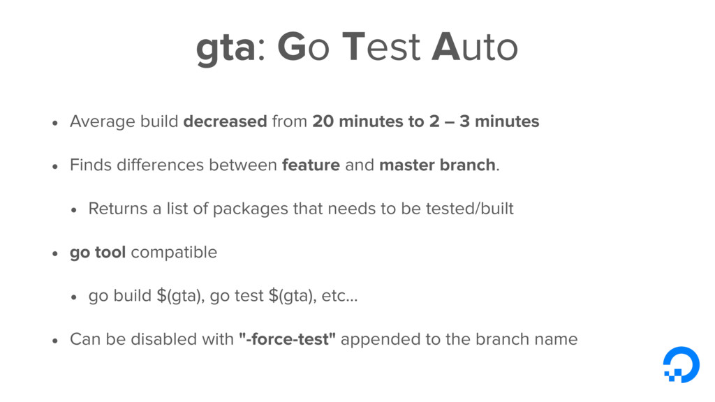 gta: Go Test Auto • Average build decreased fro...