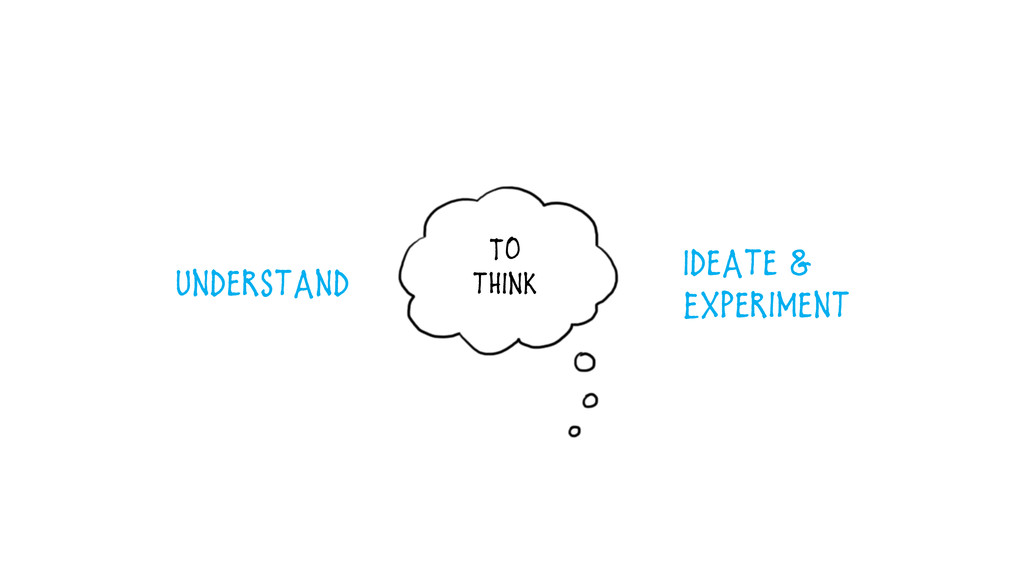To think Understand Ideate & Experiment