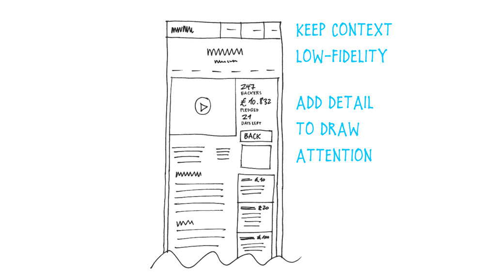 Keep Context  low-Fidelity add detail  to dra...
