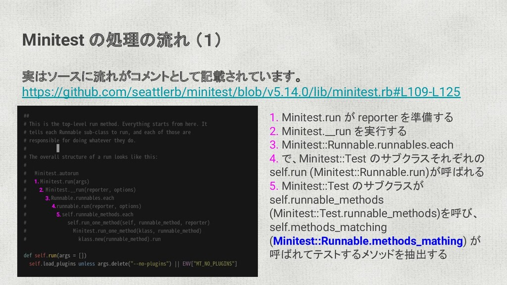 Minitest の処理の流れ (1) 実はソースに流れがコメントとして記載されています。 h...