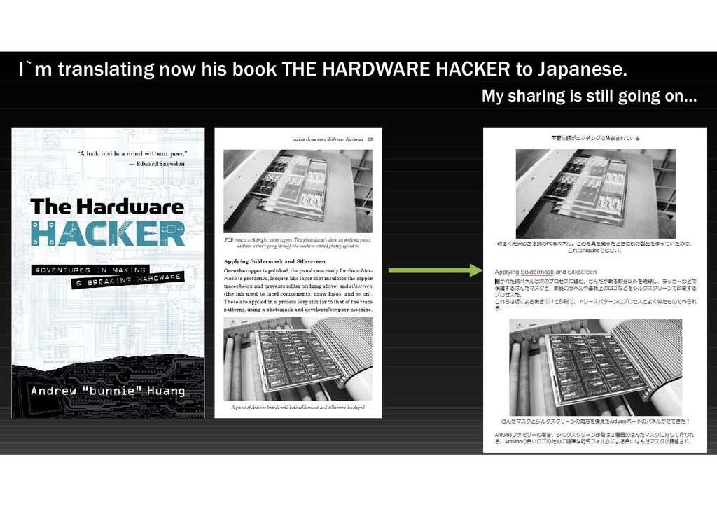 I`m translating now his book THE HARDWARE HACKE...