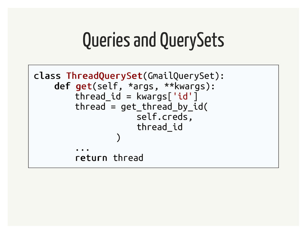 Queries and QuerySets class class ThreadQuerySe...
