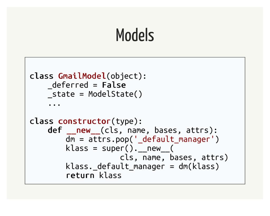 Models class class GmailModel GmailModel(object...