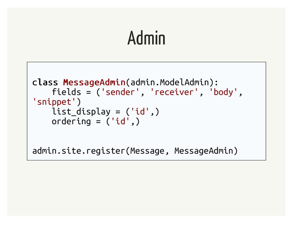 Admin class class MessageAdmin MessageAdmin(adm...