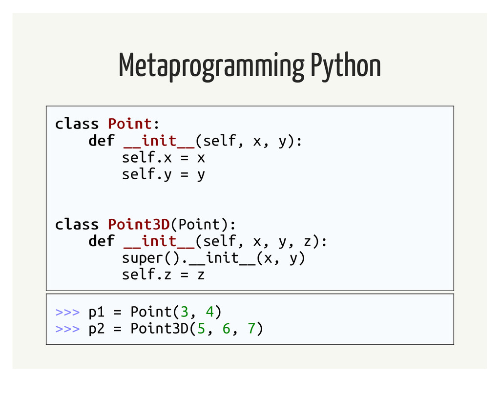 Metaprogramming Python class class Point Point:...