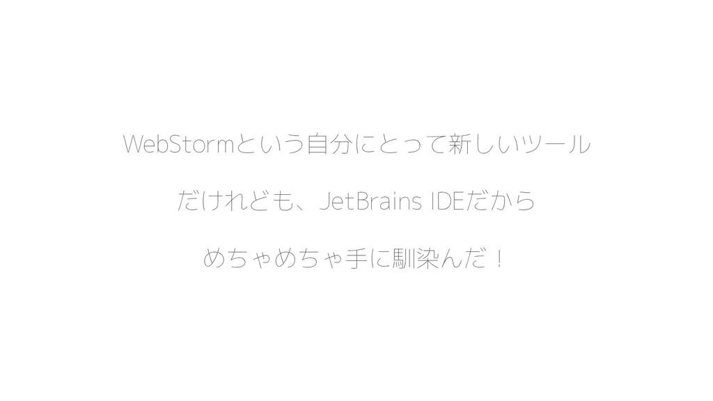 WebStormという自分にとって新しいツール だけれども、JetBrains IDEだから ...