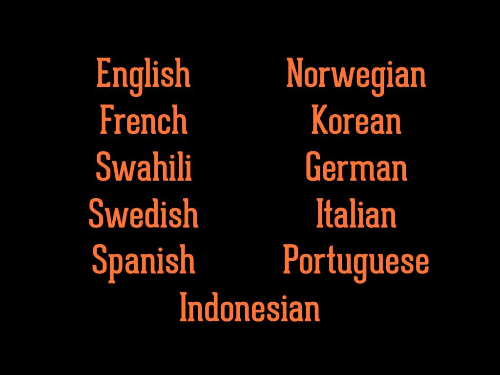 English French Swahili Swedish Norwegian Korean...